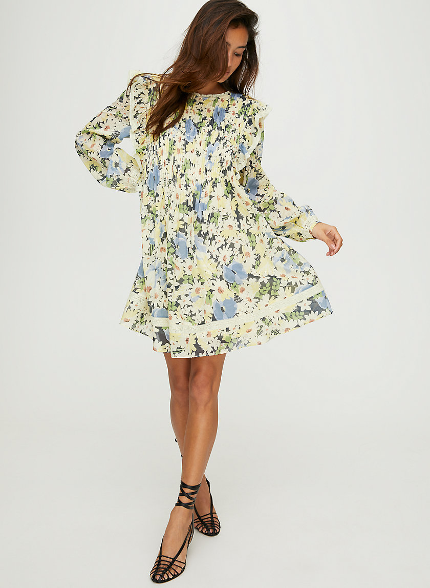 ELIA DRESS - Long-sleeve floral mini dress