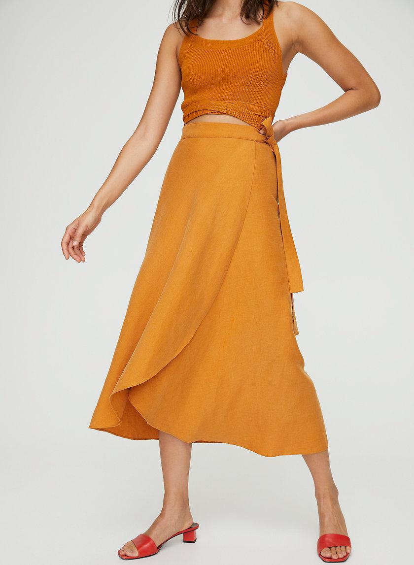 ELETA SKIRT - Wrap linen midi skirt