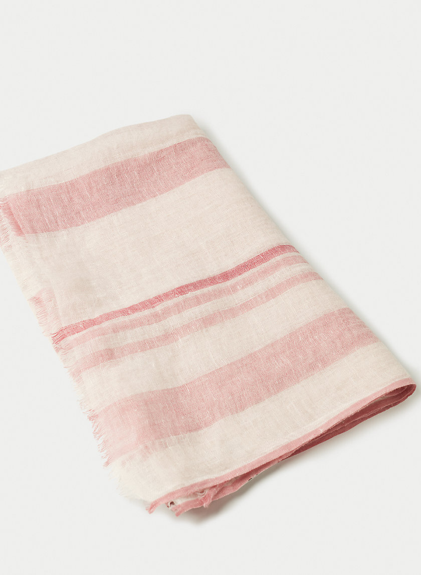 CALI STRIPE SCARF - Striped, linen rectangle scarf