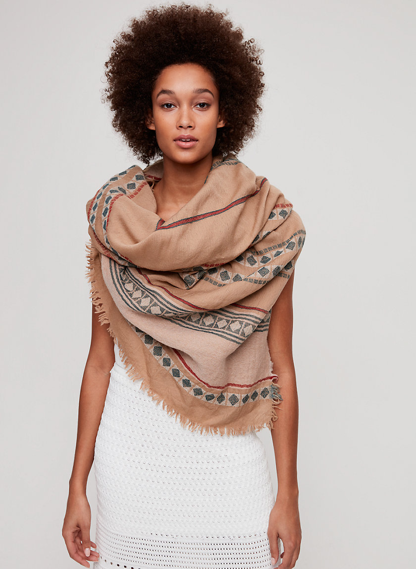 TEXTILE BLANKET SCARF - Lightweight, wool blanket scarf