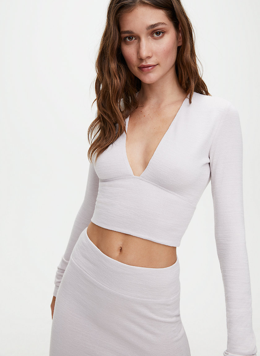 BRIGITTE T-SHIRT - Deep V-neck long-sleeve cropped shirt