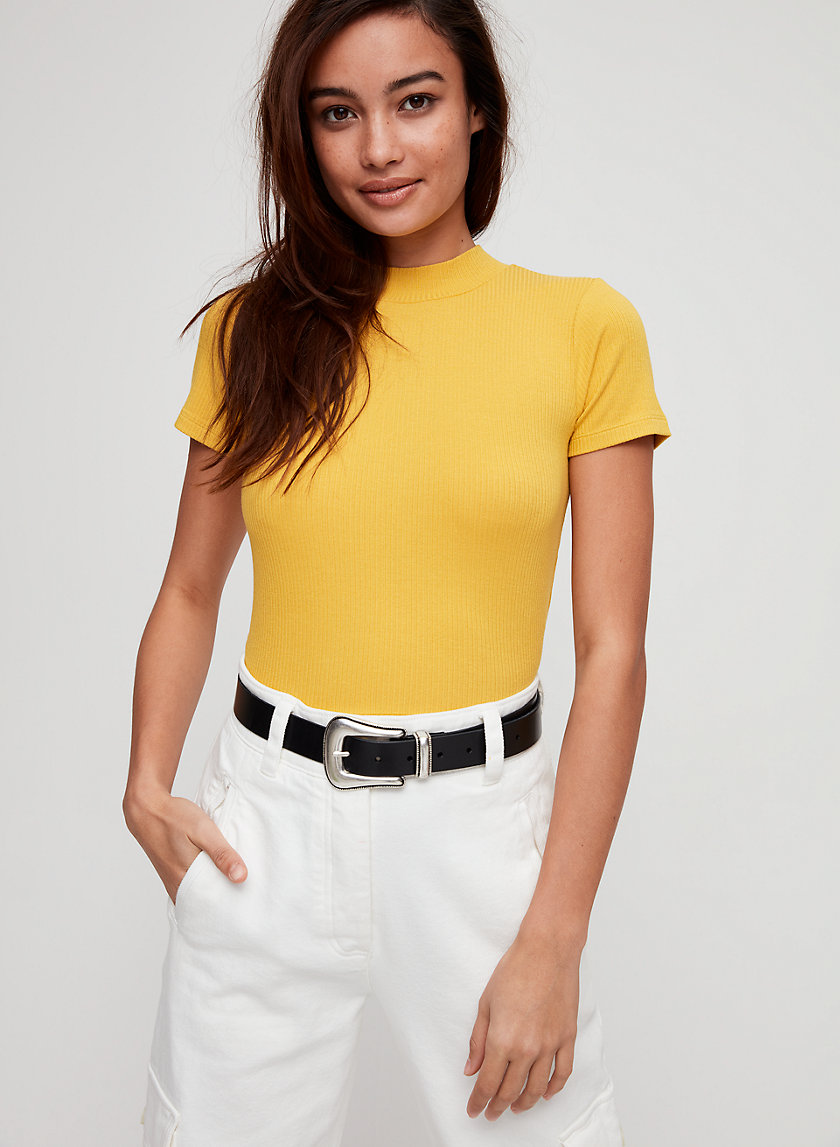 NORA CROPPED TOP - Cropped, mock-neck t-shirt
