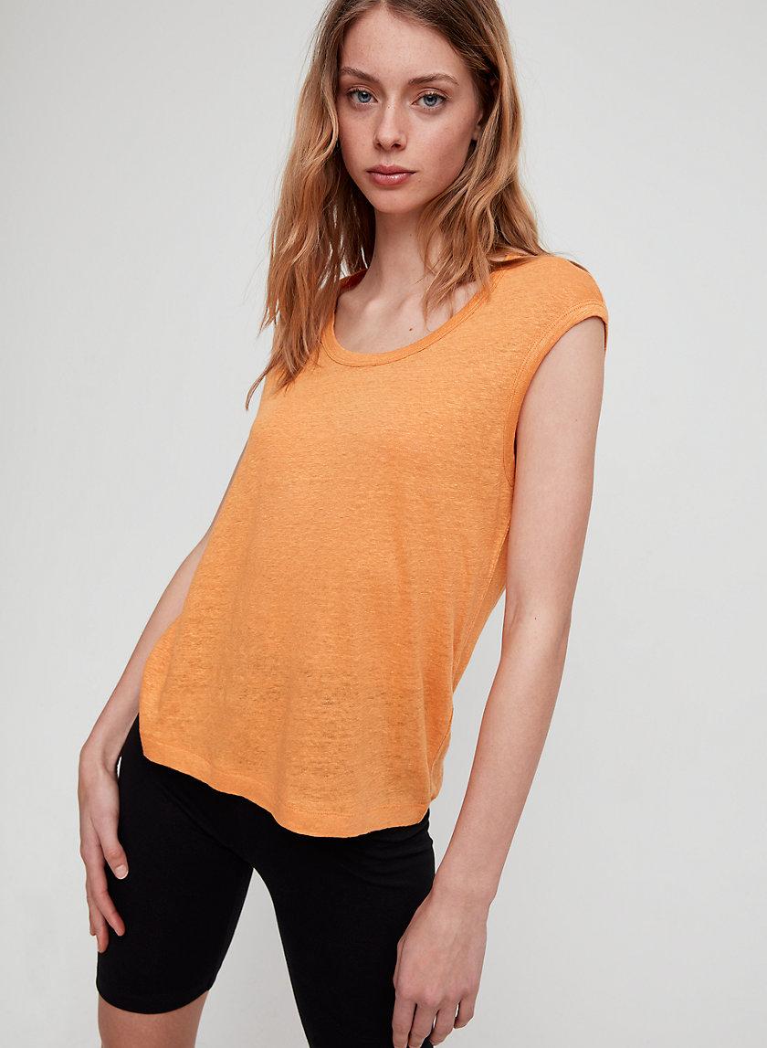 ELIANA T-SHIRT - Linen, cap-sleeve t-shirt