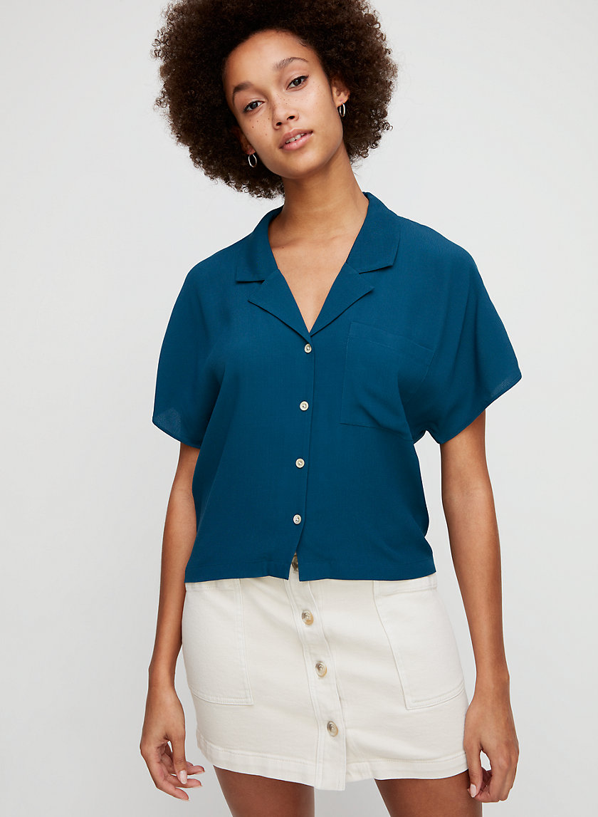 SHAWNA BLOUSE - Cropped, short-sleeve shirt