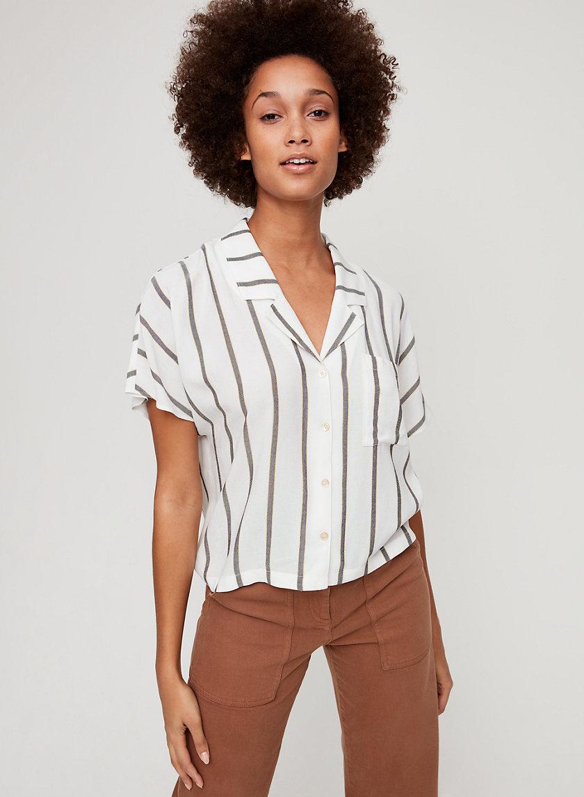 SHAWNA BLOUSE - Striped, short-sleeve blouse