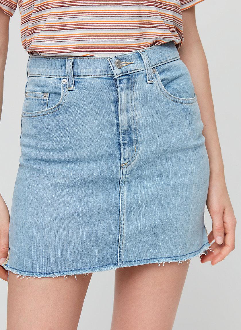 CUT OFF DENIM SKIRT - Denim mini skirt