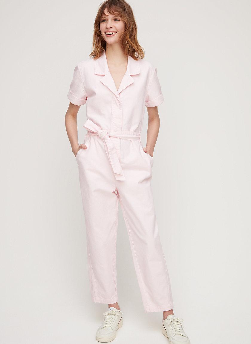 RENNY JUMPSUIT - Short-sleeve, tie-waist jumpsuit