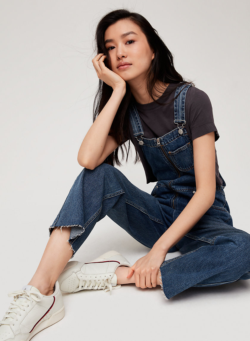 JENNA OVERALL - Cropped, denim overalls