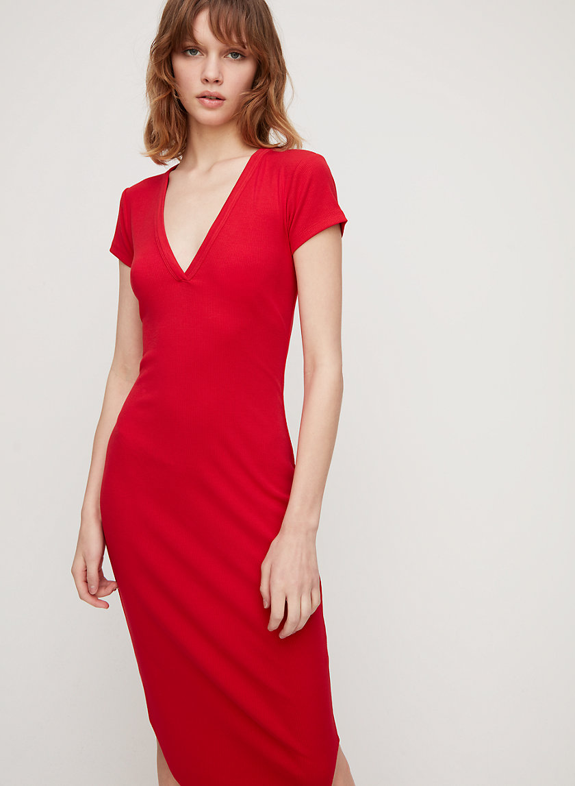CORIN DRESS - V-neck, bodycon midi dress