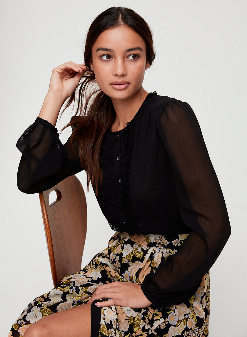 LOTUS BLOUSE - Ruffled, button-front blouse