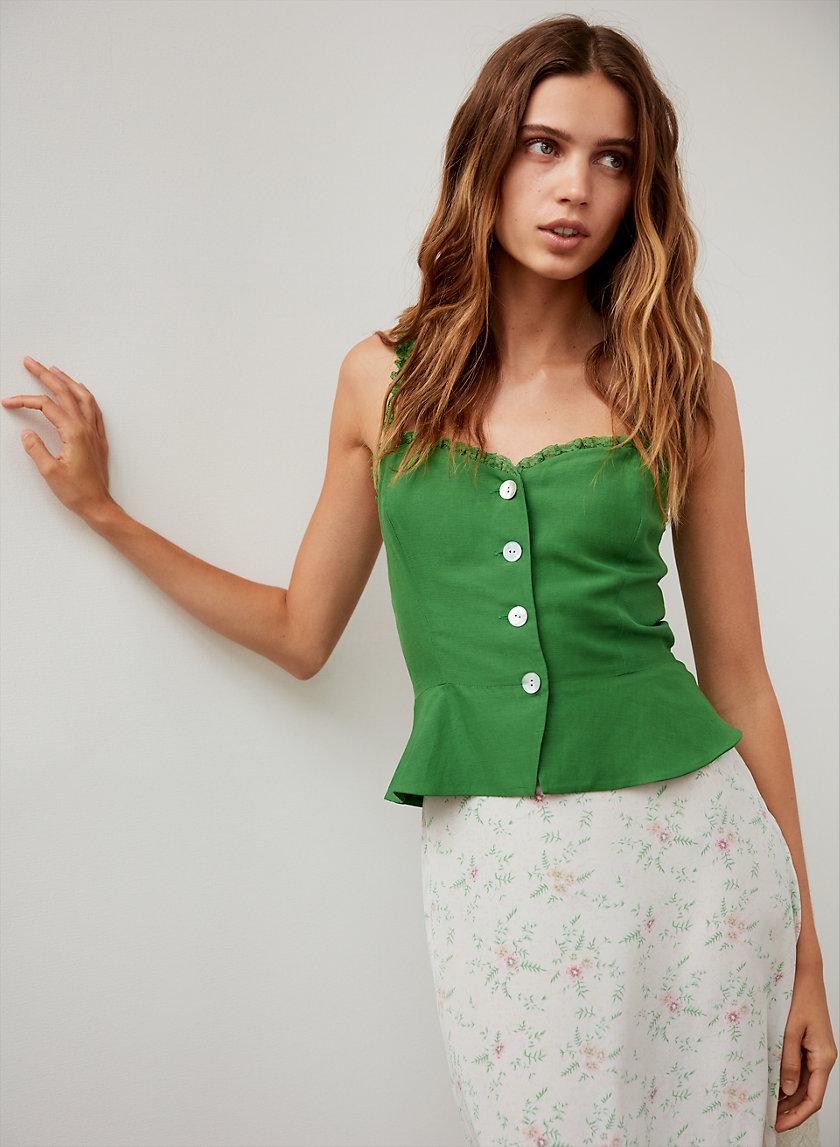 SOLÈNE BLOUSE - Button-front peplum blouse