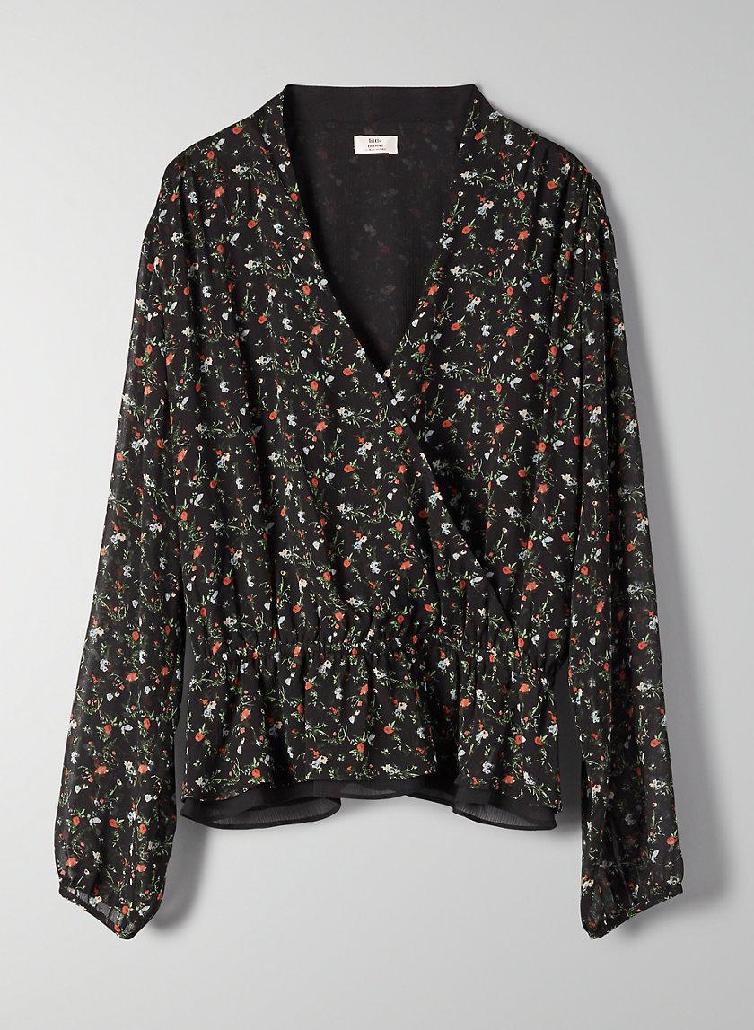 LUNARIA BLOUSE - Faux-wrap floral blouse