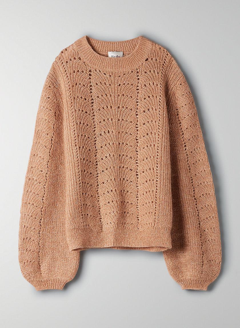 GARDENIA SWEATER - Pointelle crewneck sweater