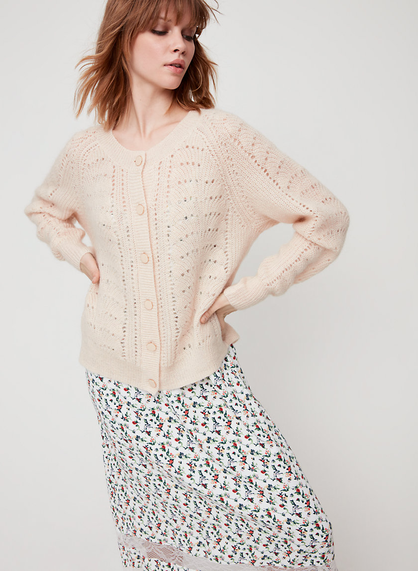 ROSELLA SWEATER - Pointelle-stitch cardigan sweater