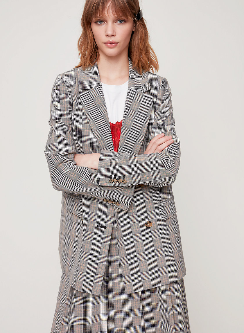 CALUNA BLAZER - Double breasted, plaid blazer