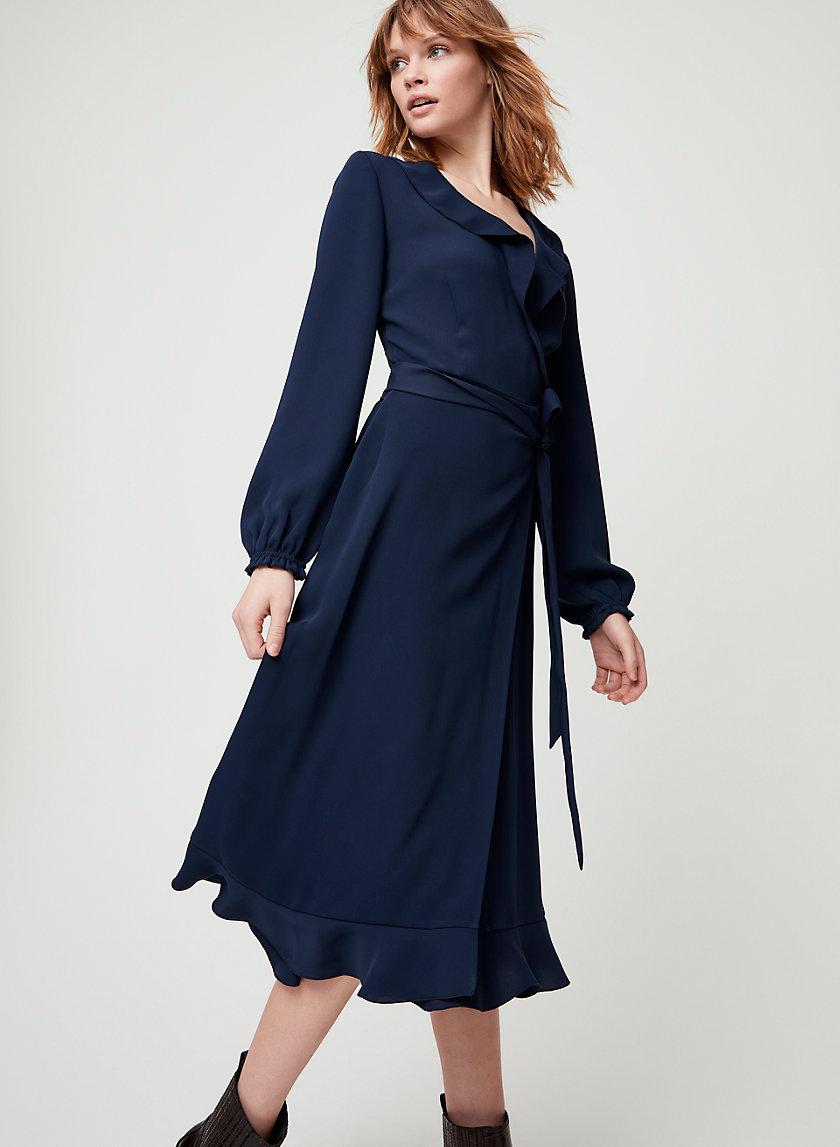 ELM DRESS - Long-sleeve, ruffled wrap dress