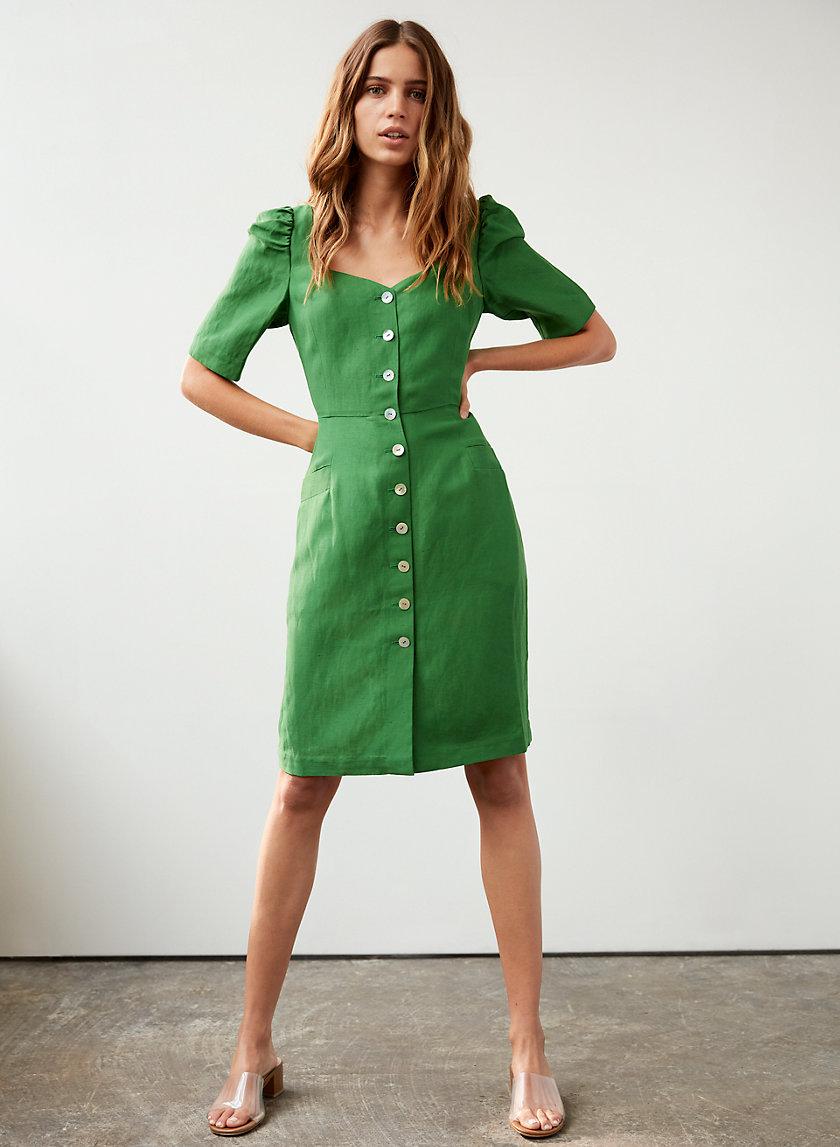 07113b2dba michalina dress Button-front linen dress