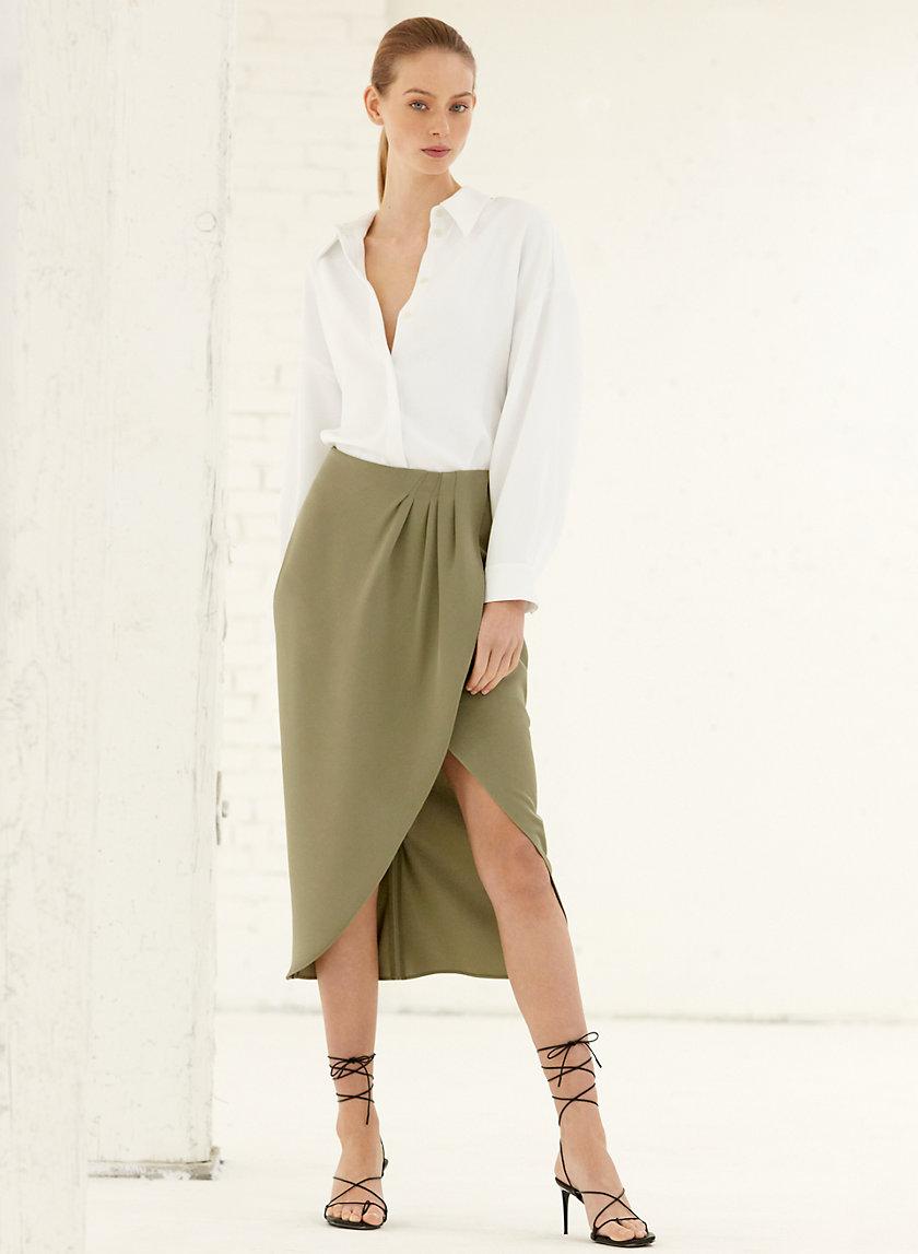 KINSLEY SKIRT - Asymmetrical, faux-wrap skirt