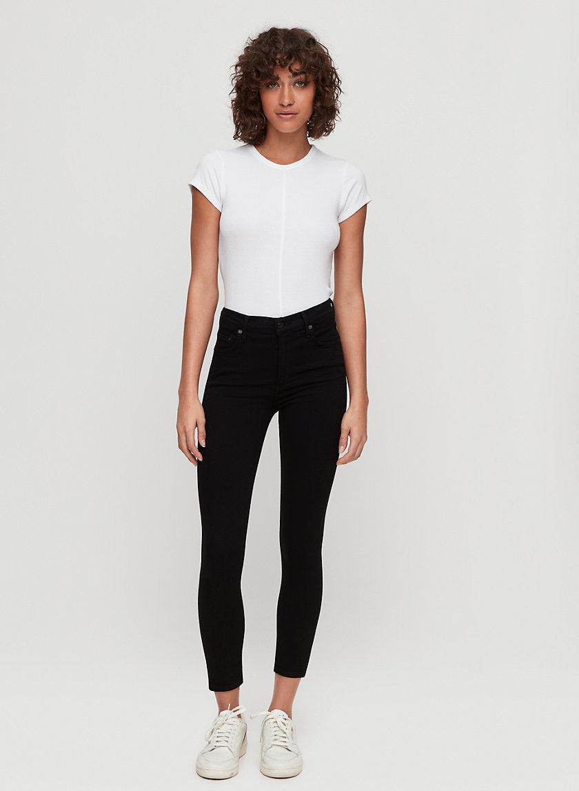ROCKET CROP ALL BLACK - High-waisted skinny jean