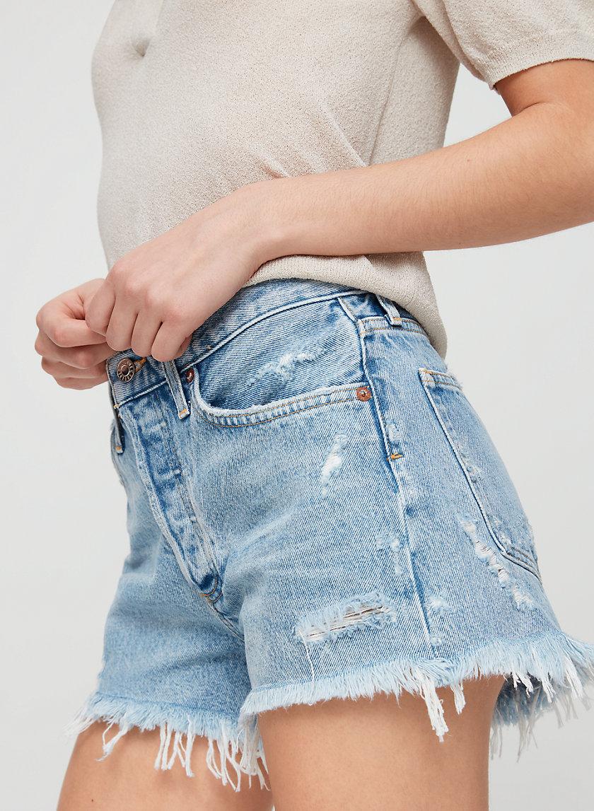 PARKER SWAP MEET - Frayed-hem denim shorts