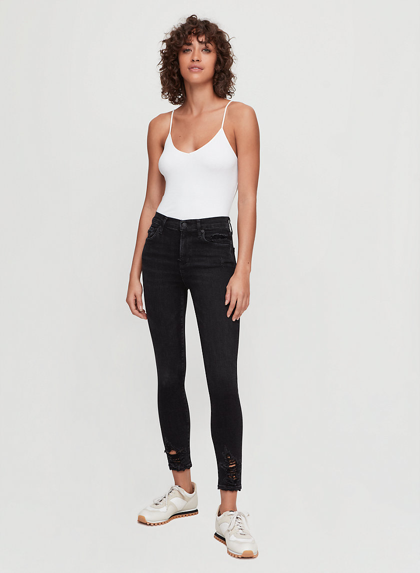SOPHIE CROP - High-waisted, ripped-ankle jean