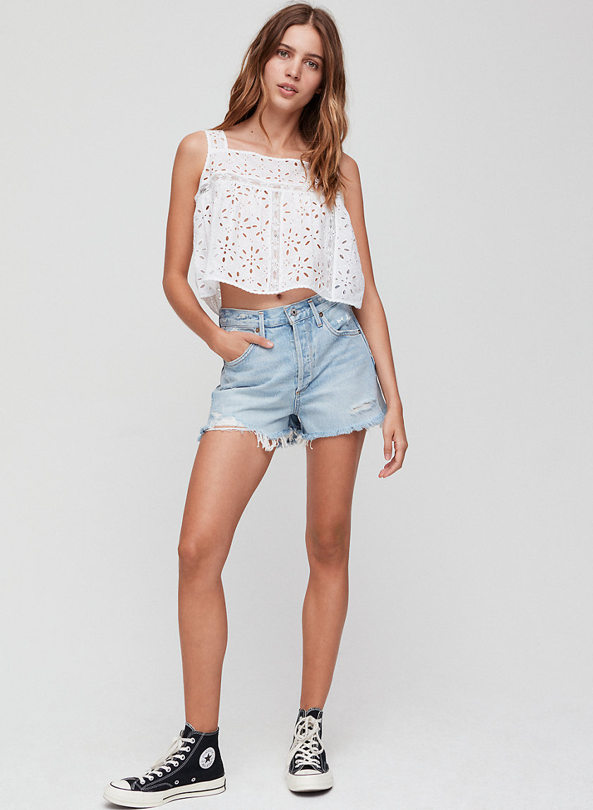 JADEN BROKEN - High-waisted, cut-off denim shorts