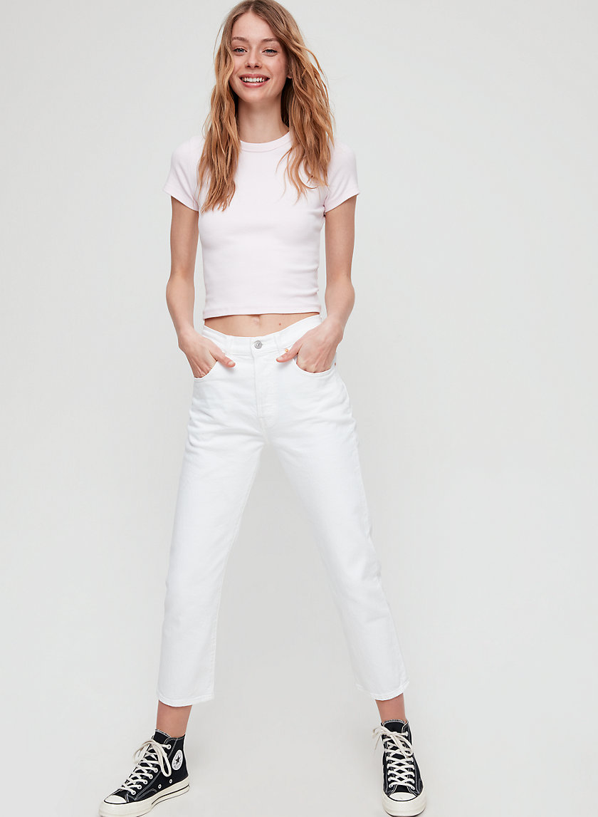 501 CROP - Cropped, straight-leg white jeans