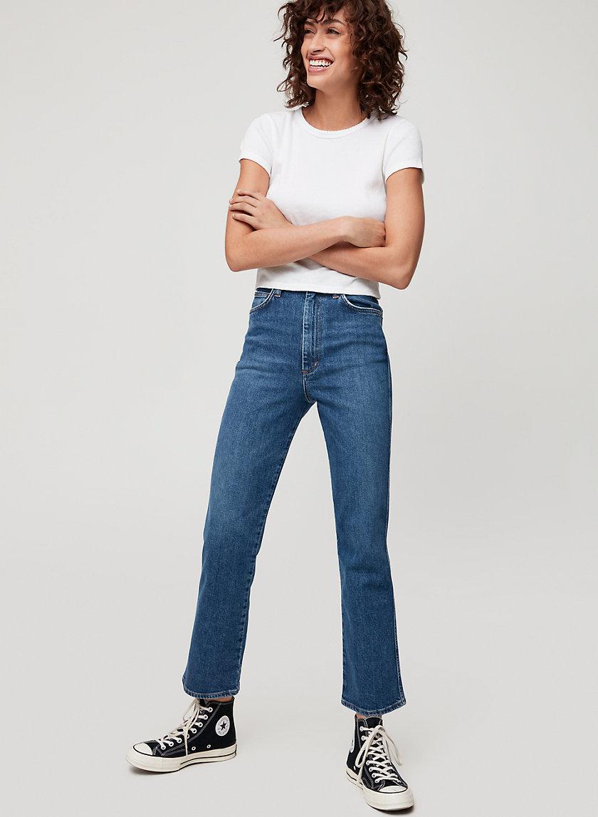 PINCH WAIST JEAN - High-waisted kick-flare jeans