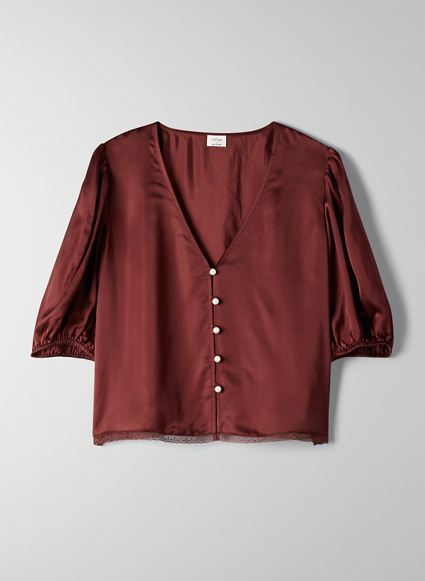 BRIA BLOUSE - Button-front, puff-sleeve blouse