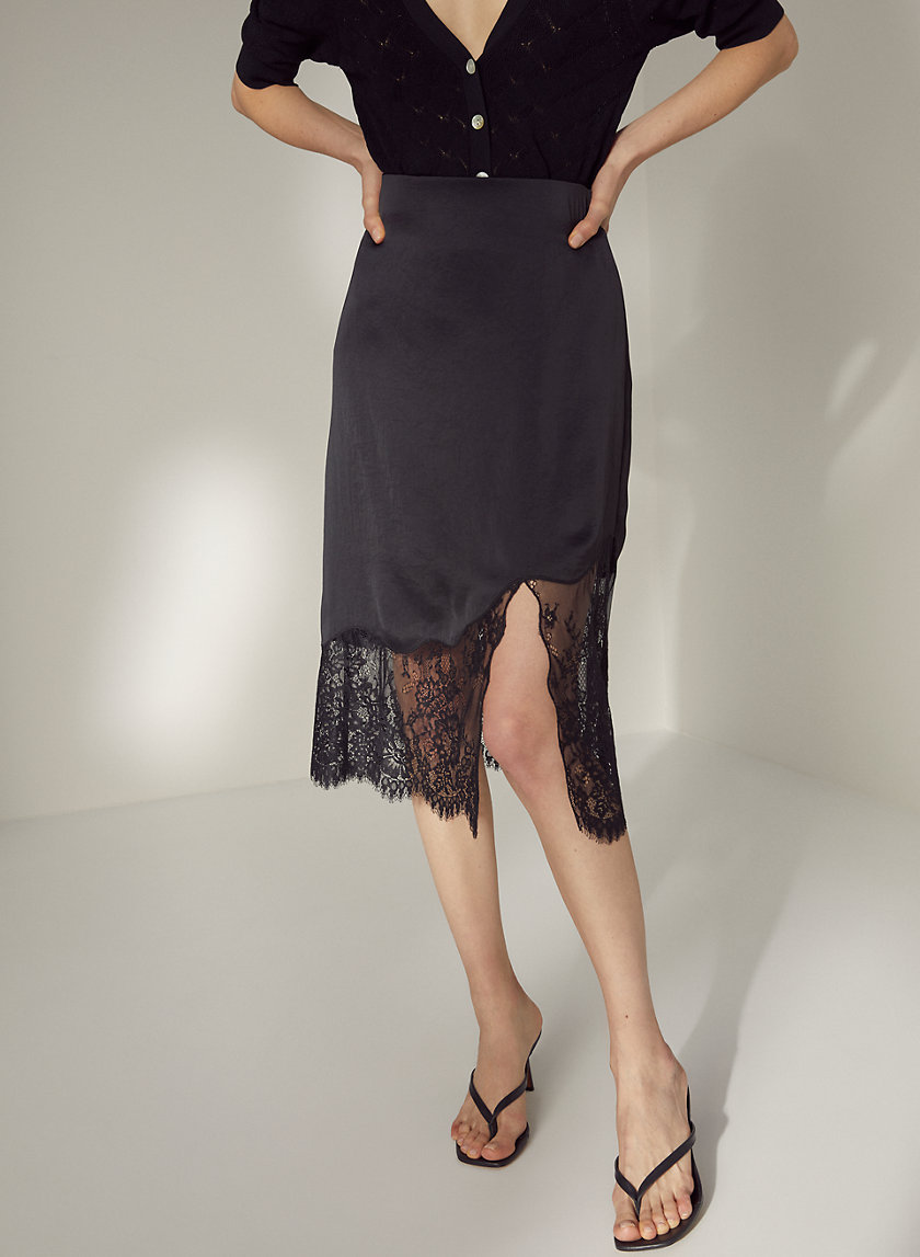 SONNET SKIRT - Lace-trim slip skirt