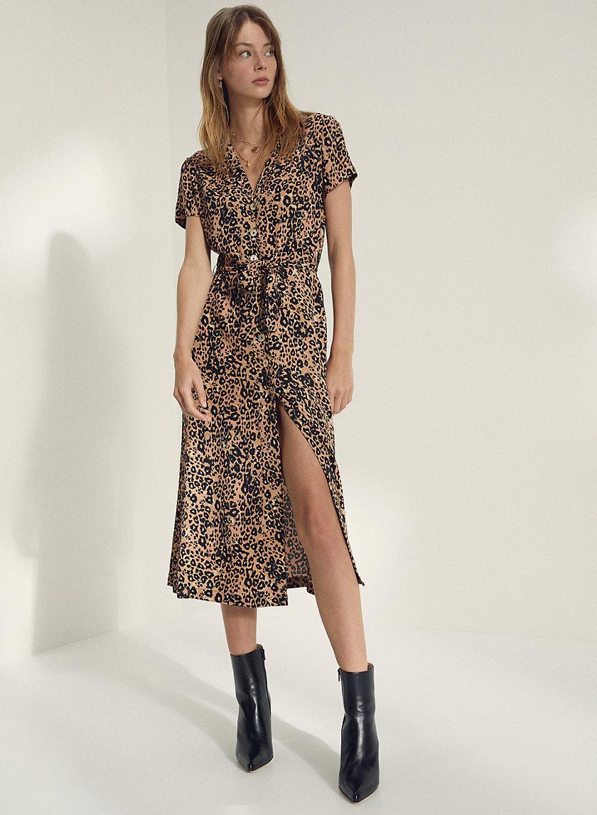 LEOPARD SHIRT DRESS - Printed, button-front shirt dress