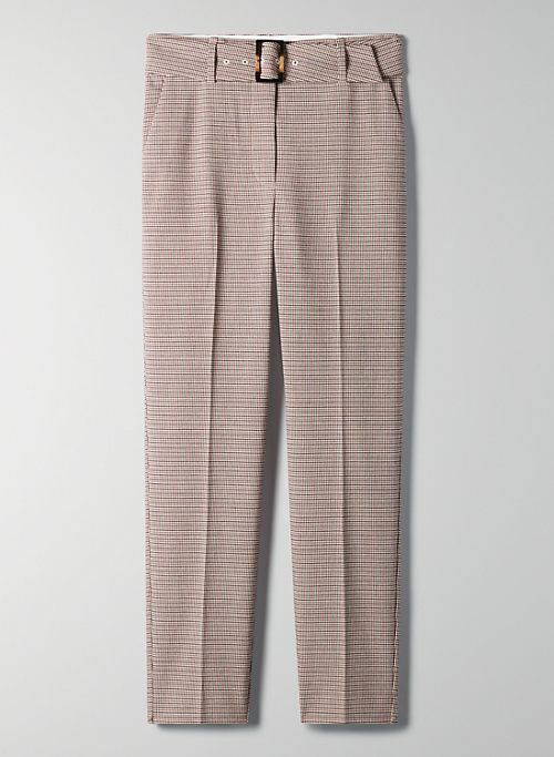 WALKER CHECK PANT - Belted high-rise cigarette pant