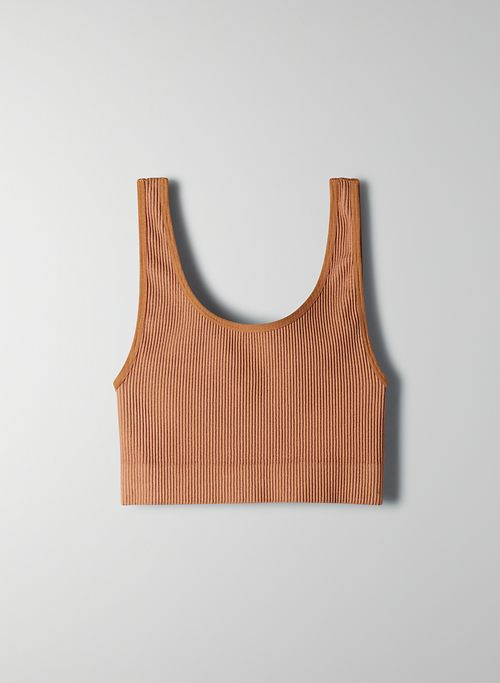 SEAMLESS RIBBED BRA TOP | Aritzia