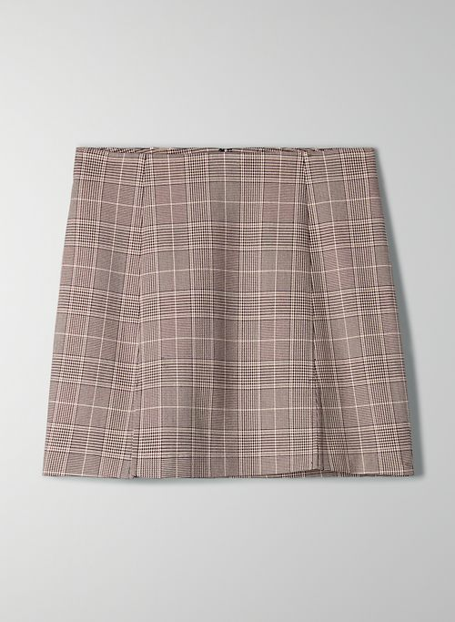 NOTCHED CHECK SKIRT | Aritzia