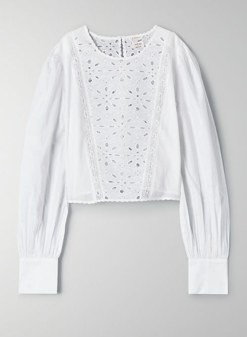 RUMI BLOUSE - Embroidered puff-sleeve blouse