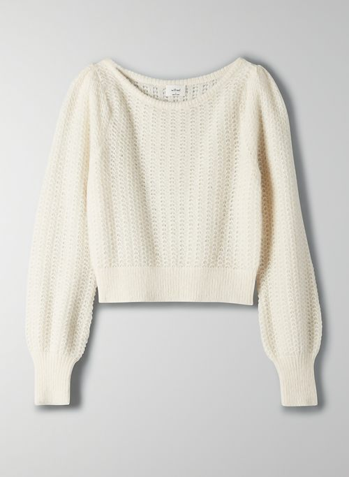 KATARINA SWEATER - Puff sleeve fuzzy sweater