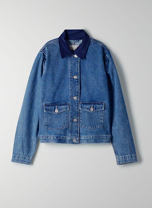 INDIE UTILITY JACKET - Denim jacket with corduroy collar