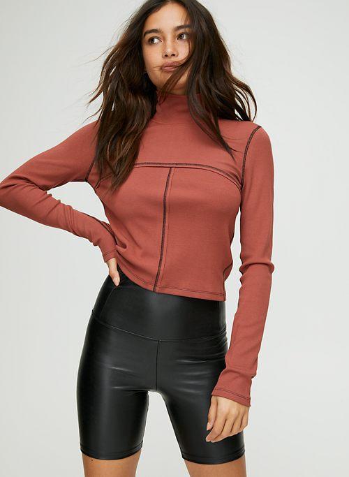 2066f856186fcc DARIA BIKE SHORT - Sculpting vegan leather shorts