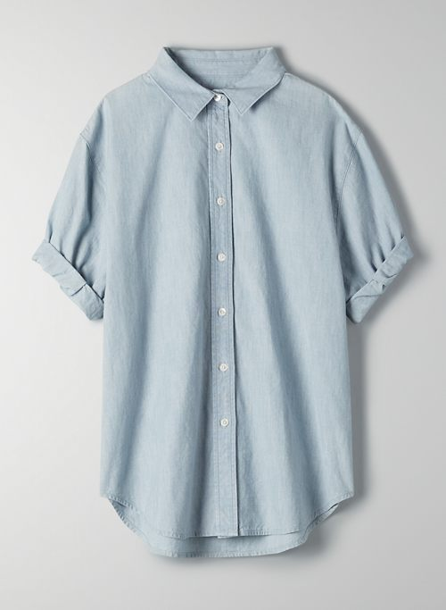 THE JANE SHIRT - Short-sleeve chambray shirt