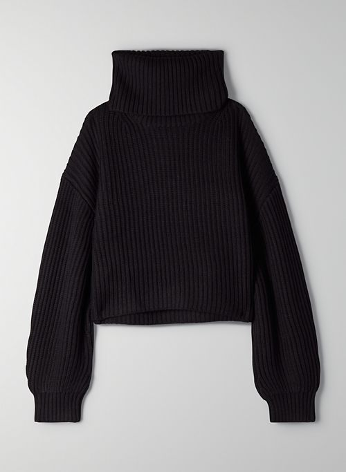FUNNEL SWEATER - Oversized, cropped turtleneck sweater