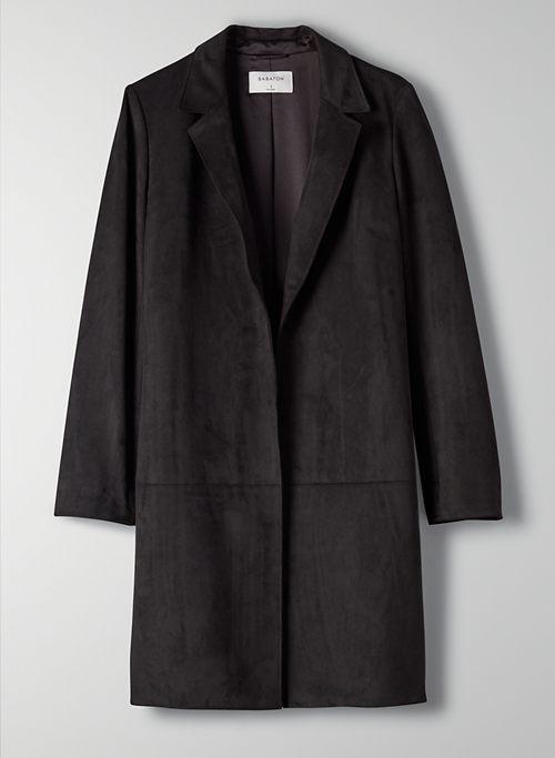CALLAHAN JACKET - Open-front vegan suede jacket