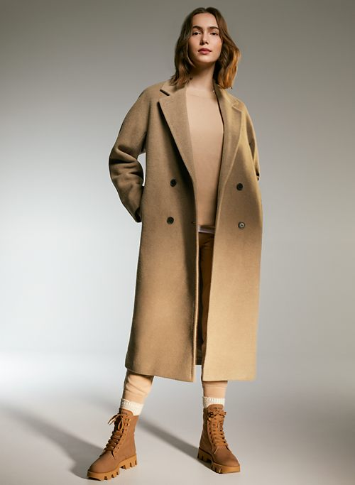 Eoeth Coat Tunic for Womens Lapel Cashmere Wool Blend Trench Long Coat Hooded Outwear Oversize Jacket