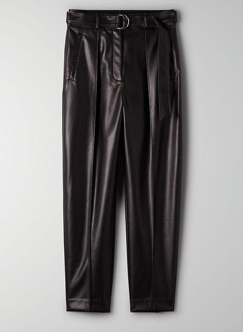VEGAN LEATHER TROUSER PANT - Belted vegan leather pants