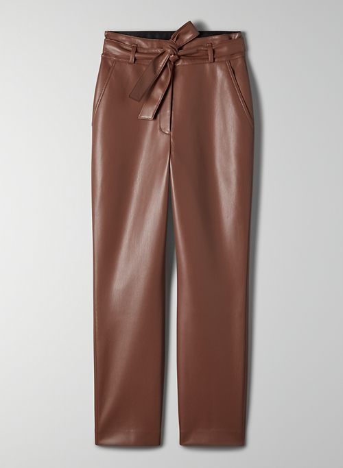 VEGAN LEATHER BELTED PANT - Tie-front Vegan Leather pant