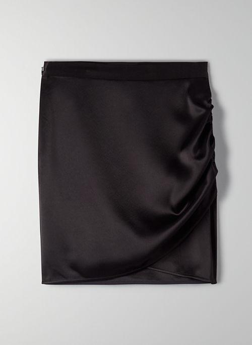 GLISTEN SKIRT - Ruched satin mini skirt