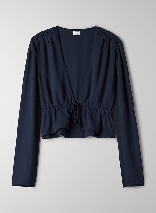 CROPPED TIE-FRONT BLOUSE | Aritzia
