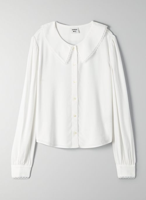AURORA BLOUSE - Collared lace-trim blouse