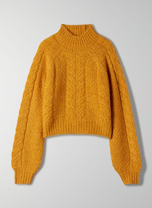MELLY SWEATER - Cable knit mockneck sweater