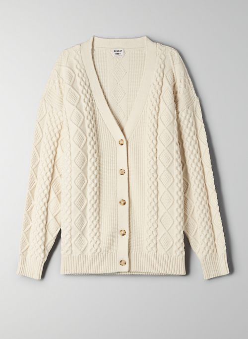LAMORA CARDIGAN - Oversized cable-knit cardigan
