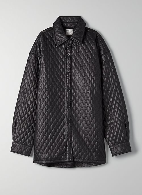 FLYNN SHIRT JACKET - Quilted vegan leather shacket